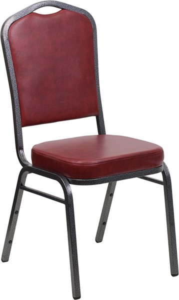 Metal Banquet Stack Chair Silvervein Frame Finish Wine Vinyl Seat and Back