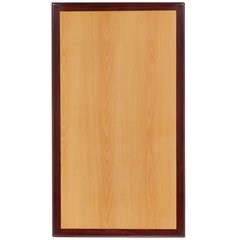 Resin Woodgrain Table Top 1.75 Inch Thick Cherry Finish with Mahogany Inlay