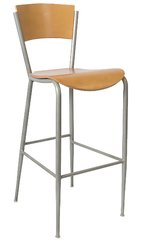 Metal Restaurant Bar Stool Silver Frame Finish Natural Wood Seat and Back