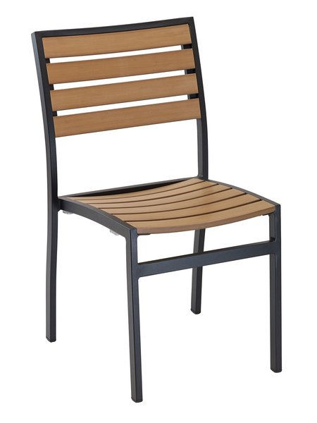 Outdoor Restaurant Cafe Side Chair Black or Silver Finish Synthetic Teak Stackable