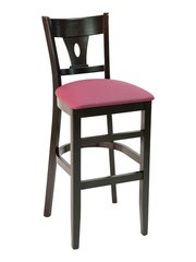 Wood V-Back Upholstered Padded Seat Restaurant Dining Bar Stool