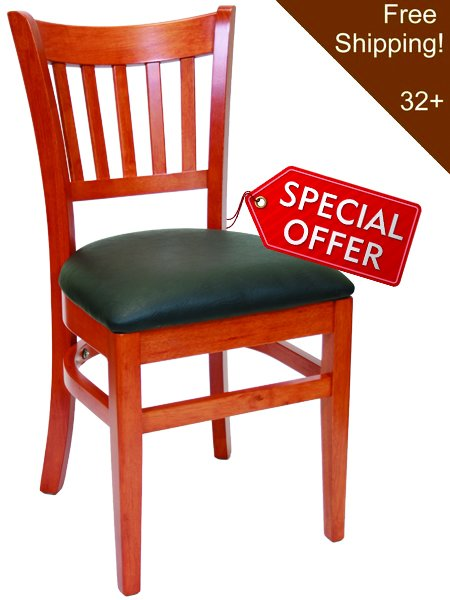 02. Wood Vertical Back Restaurant Dining Chair