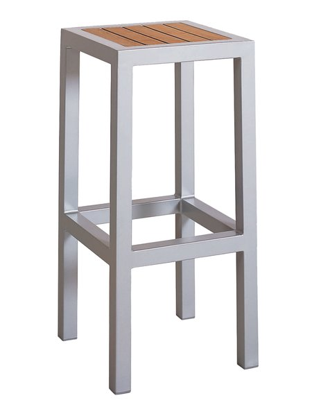 Outdoor Restaurant Cafe Backless Bar Stool Silver Finish Synthetic Teak