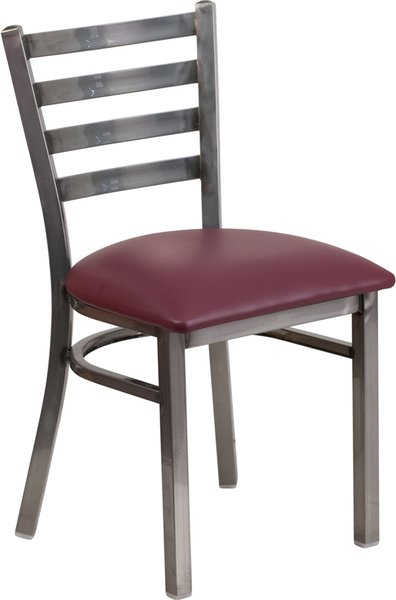 02. Metal Ladderback Restaurant Dining Chair Clear Coat Frame Finish Solid Wood Seat