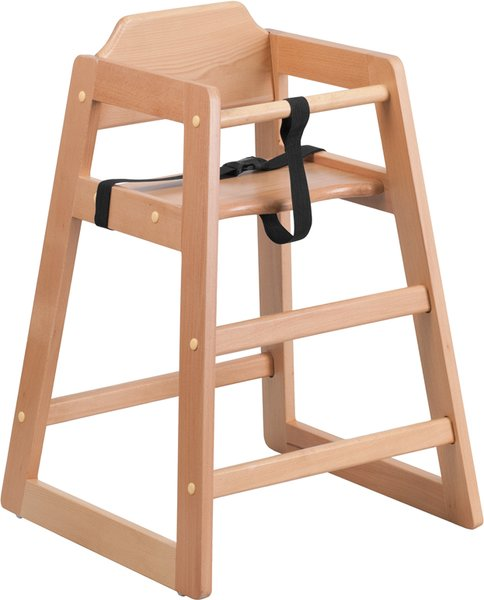 99. Wood Restaurant Stackable High-Chair Natural Finish