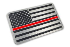 Thin Red Line Metal Vehicle Decal
