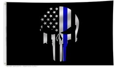 Thin Blue Line Punisher Flag 3' x 5'