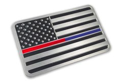 Metal Flag Car Decal Blue & Red