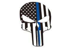Skull Thin Blue Line Vehicle Decal