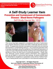 Adult Day Care Training Course No. 1312 - Prevention & Containment of Communicable Disease:  Blood Borne Pathogens (3 CEU)