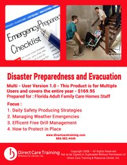 CEU Product: Florida Adult Family Care Home Disaster Preparedness Training - Certifies 3 Persons