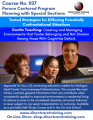 Adult Foster Care Course No. 1137 - Person Centered Program Planning (4 CEUs)