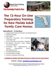 Florida Adult Family Care Home Pre-Licensing Training and Preparedness Kit