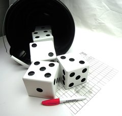 Black & White Wooden Yard Dice - Set of 5