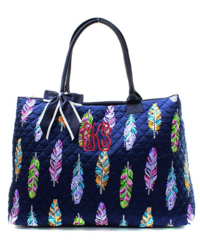 Fancy Feathers Quilted Large Shoulder Tote