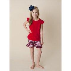 Girls Patriotic Stripe Ruffle Shorts