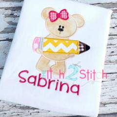Pencil Girl & Boy Bear Appliqué Designs