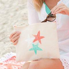 Starfish Canvas Zip Pouch