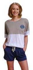 Monogrammed Short Sleeve Pom Pom Jersey Pullover