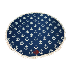 Anchors Away Sand Circle Beach Towel