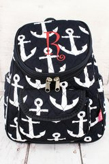 Navy Anchors Away Quilted Petite Backpack