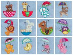 Cute Umbrella Critters Appliqué Designs