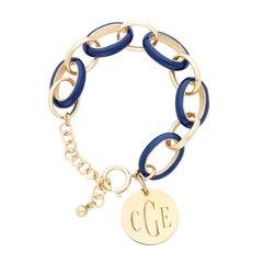 Enamel Link Bracelet with Monogrammed Gold Disc