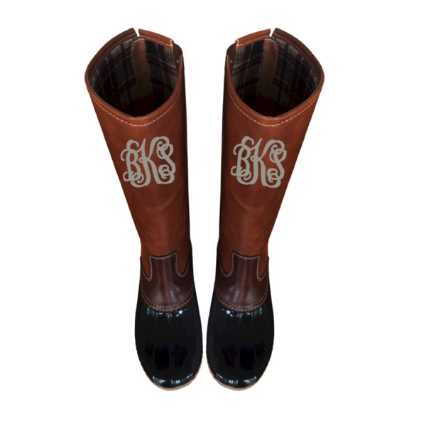 Finest Monogrammed Tall Plaid-Lined Duck Boots | Subtly Southern  NV43
