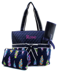 Fancy Feathers Quilted Diaper Bag