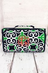 Navy & Green Celtic Swirl Roll-Up Cosmetic Bag