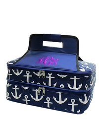 Navy Anchors Away Insulated Double Casserole Tote