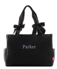 Black Quilted Large Diaper Bag