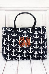 Navy Anchors Away Quilted Large Shoulder Tote