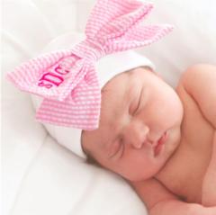 Seersucker Newborn Cap