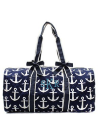 "Navy Anchors Away 21"" Quilted Duffel Bag"