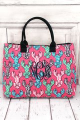 Lively Lobsters Quilted Large Shoulder Tote
