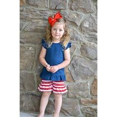 Girls Red Stripe Ruffle Shorts