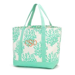 Mint Coral Canvas Tote
