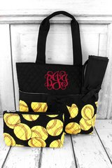 Softball Quilted Diaper Bag
