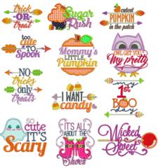 Halloween Word Art Appliqué Designs