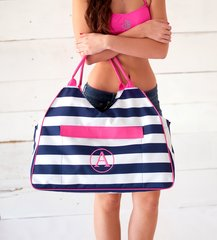 Navy Prep Stripe Beach Bag