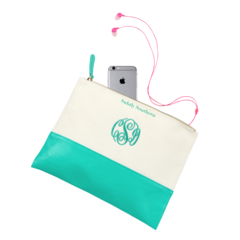 Mint Canvas Zipper Pouch