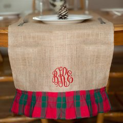 Burlap Christmas Table Runner with Plaid Ruffle