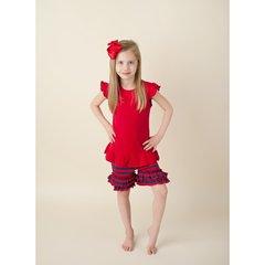 Girls Red & Navy Stripe Ruffle Shorts