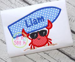 Surfboard Crab Appliqué Design