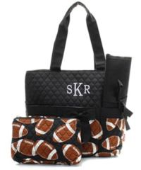 Football Quilted Diaper Bag