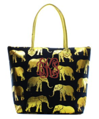 Gold Metallic Elephant Tote Bag