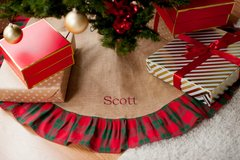 Burlap Christmas Tree Skirt with Plaid Ruffle