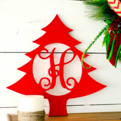 Wooden Christmas Tree Monogram
