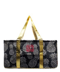 Navy Jute Pineapple Collapsible Haul-It-All Basket
